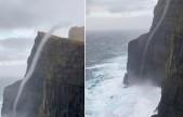 """丹麦""""反重力瀑布""""惊呆看客 海水飞流直上越过470米崖顶"""