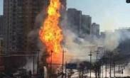 北京:朝阳区天然气泄漏引爆燃 现场窜起数米高明火