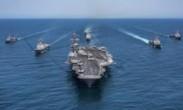 美韩两军在西太平洋编队航行画面公布