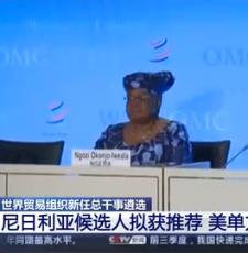 世界贸易组织新任总干事遴选 尼日利亚候选人拟获推荐 美单方面反对