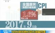 9月份居民物价同比涨幅回落